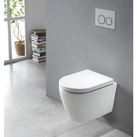 WC suspendu à fond creux sans bride NANO protection - abattant Softclose - WC B-8030R blanc