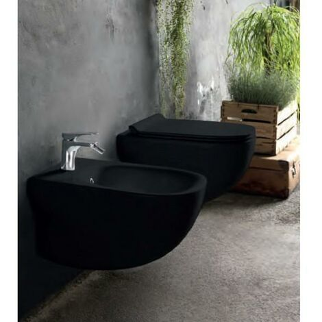 wc suspendu avec abattant design wild blackmat cristina. Black Bedroom Furniture Sets. Home Design Ideas