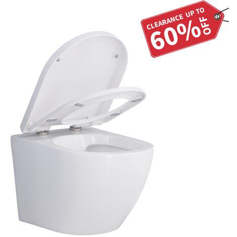 WC Suspendu avec Abattant Toilette Murale en Céramique Blanc Cuvette Suspendue Sans Bride Haute de Gamme
