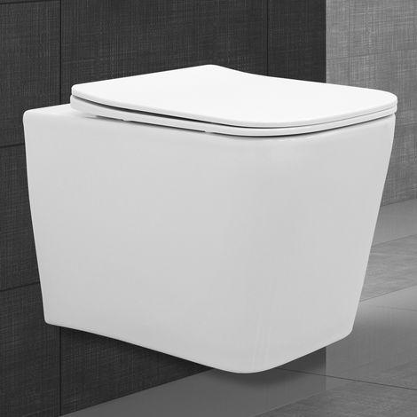 WC suspendu blanc en céramique angulaire sans rebord avec siège soft close