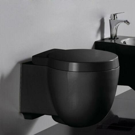 WC Suspendu Compact - Avec Abattant - Céramique Noir brillant - 50x41 cm - Charm