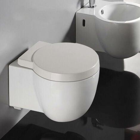 WC Suspendu Compact - Avec Abattant - Céramique Blanc - 50x41 cm - Charm