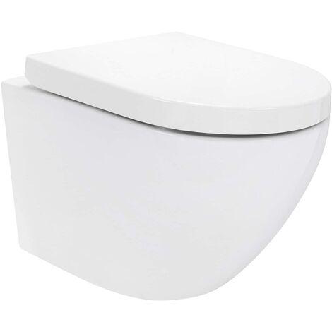 WC suspendu en céramique blanche avec abattant frein de chute - RONDE