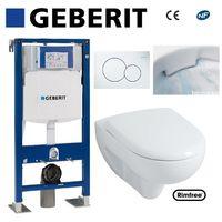 WC suspendu geberit plaque blanche + rimfree complet