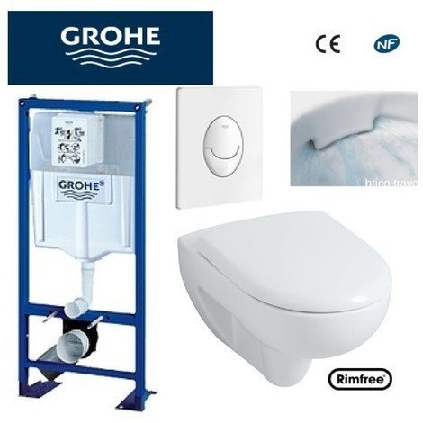 WC suspendu Grohe plaque blanche +rimfree