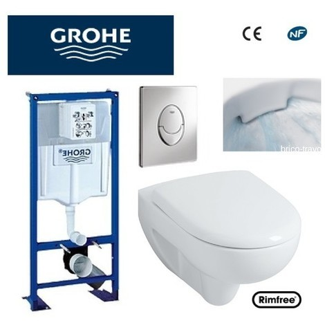 WC suspendu Grohe plaque grise +rimfree