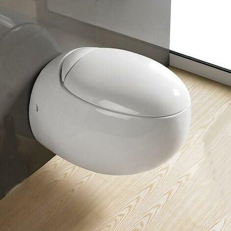 WC Suspendu Oeuf - Avec Abattant - Céramique Blanc - 59x41 cm - Ove