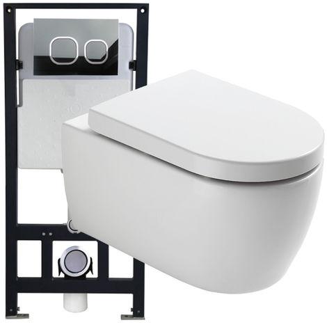 WC suspendu offre spéciale pack économique 1: NT2038 - et bâti-support G3004A avec plaque de déclenchement