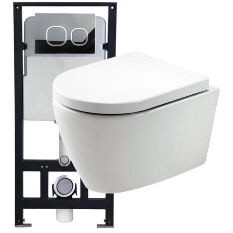 WC suspendu offre spéciale pack économique 10: B-8030 - et bâti-support G3004A avec plaque de déclenchement