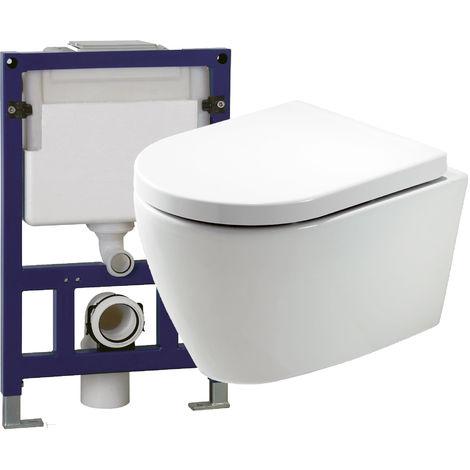 WC suspendu offre spéciale pack économique 11: B-8030 - et bâti-support G3005 avec plaque de déclenchement