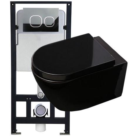 WC suspendu offre spéciale pack économique 12: B-8030 - et bâti-support G3004A avec plaque de déclenchement