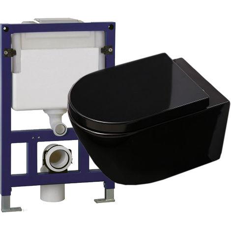 WC suspendu offre spéciale pack économique 13: B-8030 - et bâti-support G3005 avec plaque de déclenchement