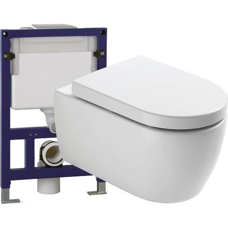 WC suspendu offre spéciale pack économique 2: NT2038 - bâti-support G3005 et plaque de déclenchement