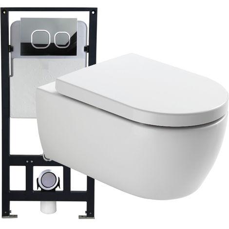 WC suspendu offre spéciale pack économique 3: NT2039 - et bâti-support G3004A avec plaque de déclenchement