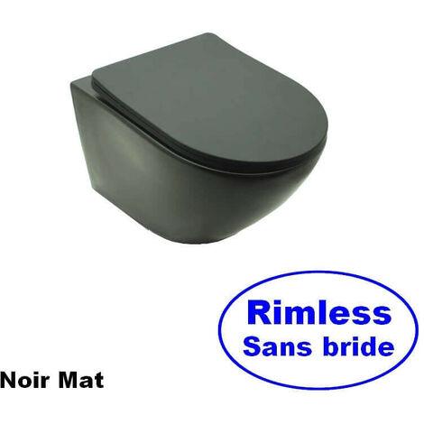 WC Suspendu Ovale - Avec Abattant - Céramique Noir mat - Sans Bride - 48x37 cm - Cort