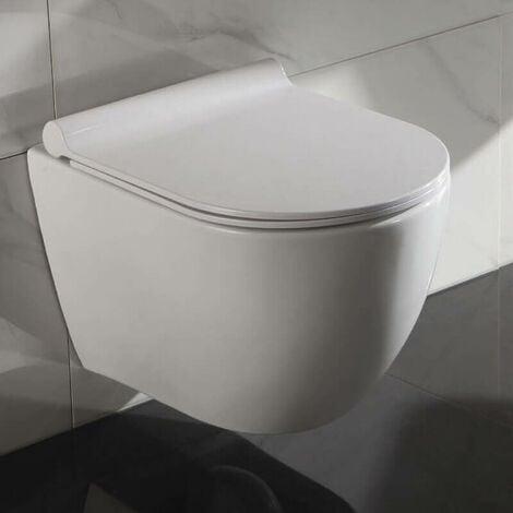 WC Suspendu Ovale - Avec Abattant - Céramique Blanc - Sans Bride - 49x36 cm - Cort