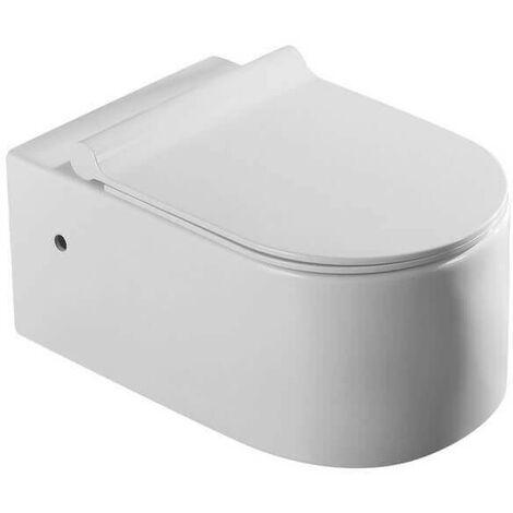 WC Suspendu Ovale - Céramique Blanc - Avec Abattant - Sans Bride - 57x36 cm - Natural