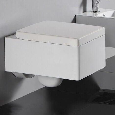 WC Suspendu Rectangulaire - Avec Abattant - Céramique Blanc - 52x39 cm - Kube