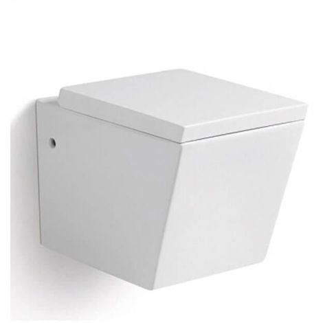 WC Suspendu Rectangulaire - Avec Abattant - Céramique Blanc - 56x36 cm - Connect