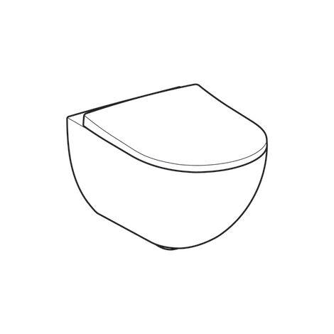 WC suspendu rimfree sans bride ACANTO caréné avec abattant frein de chute - Geberit