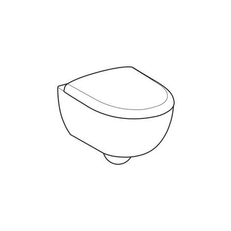 WC suspendu rimfree sans bride RENOVA COMPACT caréné avec abattant frein de chute - Geberit