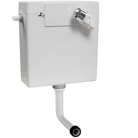 WC Toilet Concealed Side Fill Cistern and Chrome Dual Flush Button