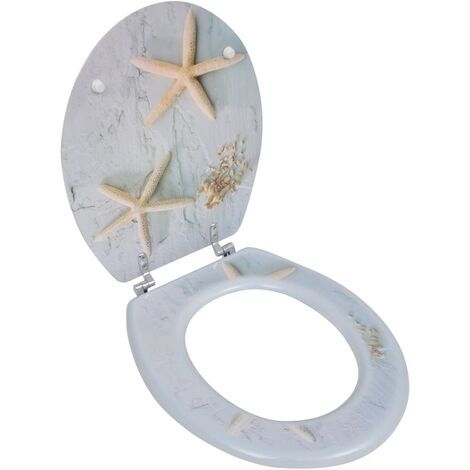 WC Toilet Seat MDF Hard Close Lid Spectacular Look Starfish