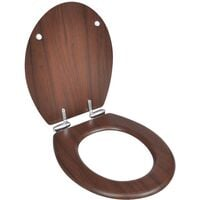 WC Toilet Seat MDF Soft Close Lid Simple Design Brown