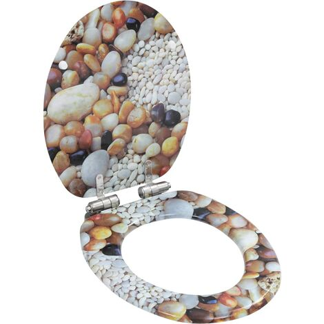 WC Toilet Seat with Soft Close Lid MDF Pebbles Design