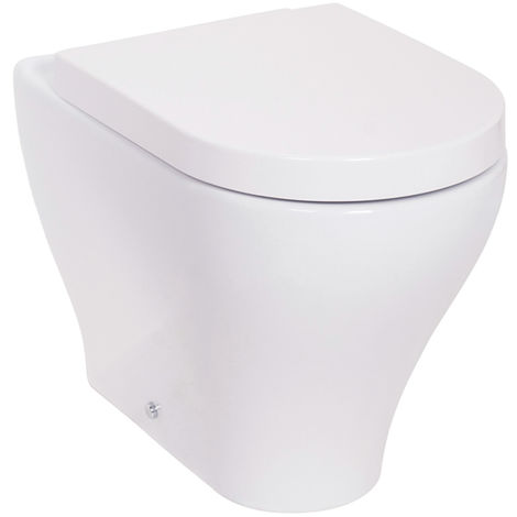 WC White Vitreous Ceramic Back to Wall Toilet Pan with Soft Close Seat