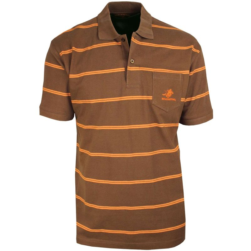 We1256M Polo Rayures Marron Orange L - Marron