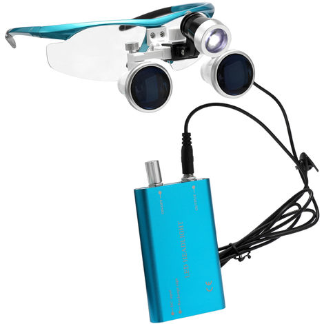 Wearable Portable Loupe 3,5X 420Mm Chirurgical Medical Binocular Verre Loupes Optique Casque Loupes + 3W Led Phares, Bleu