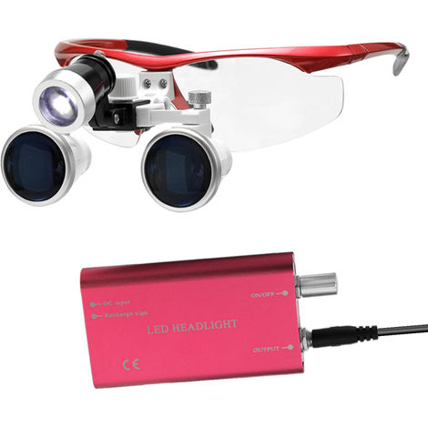 Wearable Portable Loupe 3,5X 420Mm Chirurgical Medical Binocular Verre Loupes Optique Casque Loupes + 3W Led Phares, Rouge