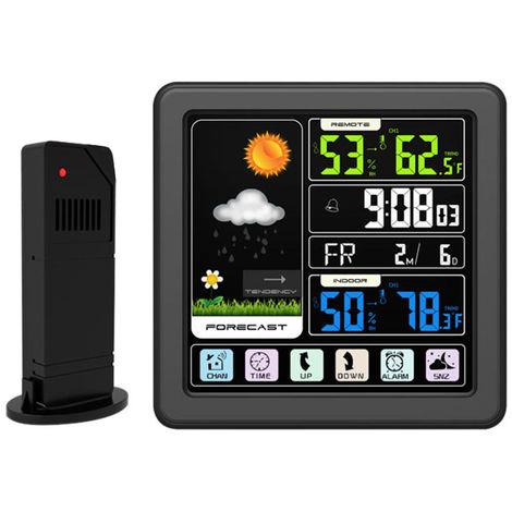 Weather Station Alarm Clock Indoor & Outdoor Thermometer Hygrometer Black
