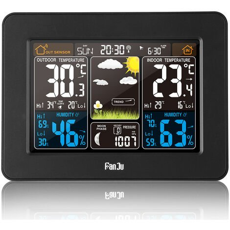 Weather station with wireless sensor thermometer hygrometer digital barometer indoor outside phase of the moon 9-in-1 colorful LCD screen with alarm clock Snooze weather Forecasts