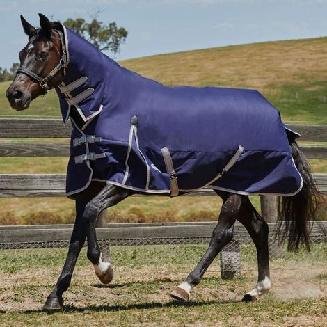 Weatherbeeta ComFiTec Essential Combo Neck Turnout Rug (4 ft) (Navy/Silver/Red)