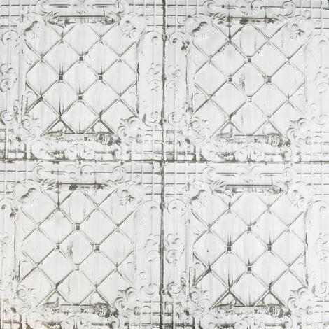 Weathered Tin Tile Wallpaper Ornamental Off-White Paste The Wall Textured Vinyl