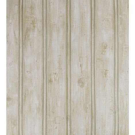 Weathered Wood Panel Effect Wallpaper Green Cream Fine Decor Vinyl