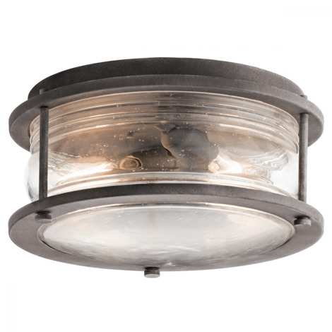 Weathered Zinc Ashlandbay 2lt Outdoor Ceiling Flush - 2 x 60W E27 by Happy Homewares