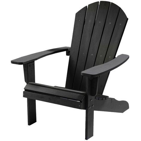 "main image of ""Weatherproof Bjorn Outdoor Polywood Adirondack Chair - Garden Patio (Black)"""