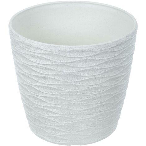 Weave Effect Plant Pot White 18cm