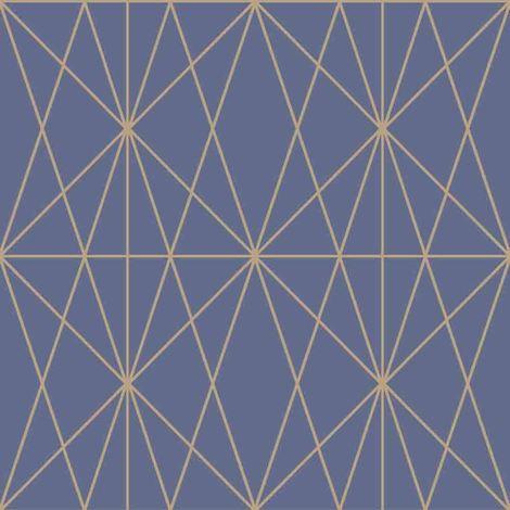 "main image of ""Web Geo Pattern Geometric Blue Gold Metallic Shimmer Wallpaper Modern Arthouse"""