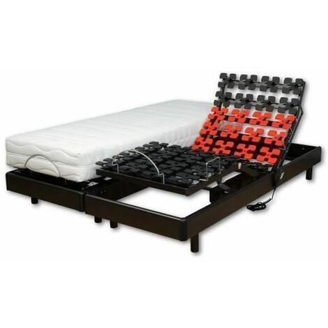 WEBED Ensemble matelas + sommier relaxation 180 x 200 - Mousse - 21 cm - Mi-ferme et equilibre - Noir et gris anthracite - CORDU