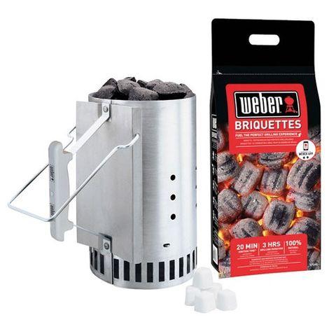 WEBER - Kit allume-feu - cheminée, briquettes et cubes allume-feux