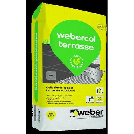 Webercol terrasse C2 E Fibré Gris sac de 25 kg-Weber