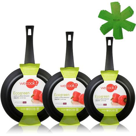 Wecook Ecogreen Set Juego 3 Sartenes 20-24-28 cm aluminio prensado, inducción, antiadherente ecológico sin PFOA, limpieza lavavajillas apta para todas las cocinas, vitrocerámica, gas