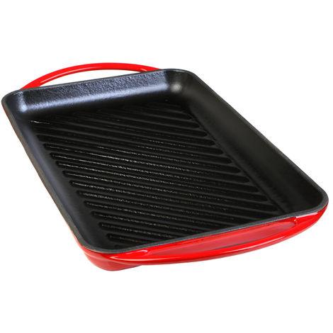 Wecook Iron Parrilla Plancha Rayas Bandeja Hierro Fundido Esmaltada roja libre PFOA, inducción, rectangular 22x40 cm, Apta todas fuentes de calor, horno y barbacoas