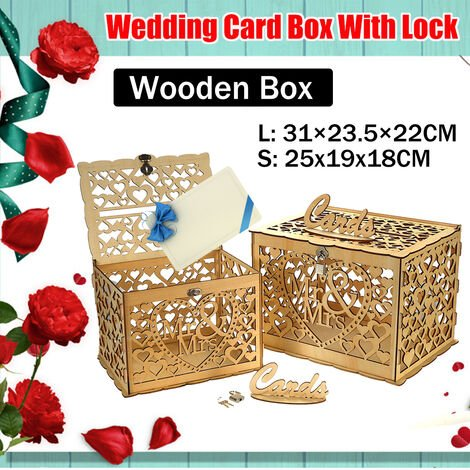 Wedding Card Post Wooden Box Collection Gift Card Boxes with Lock Weddings Decor S (small)