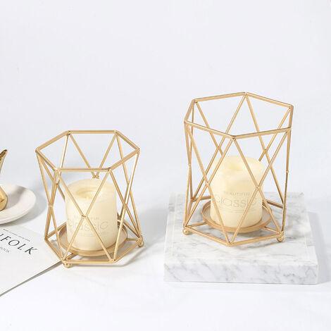 Wedding Geometric Gold Metal Tea Light Holder Pillar Candle Stand Lantern Table