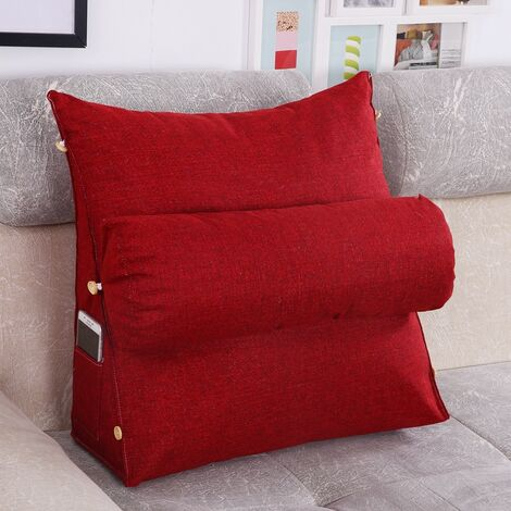 Wedge Pillow Sofa Bed Office Seat Chair Rest Neck Back Support Relief winered 45*20*45cm